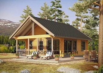 طرح پیشنهادی ویلای تمام چوب با پلاناجرایی  متراژ نود متر  فلت